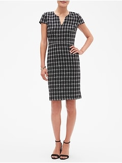 Plaid Split-Neck Boucle Sheath Dress