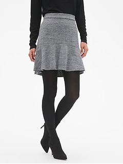 Marled Knit Fluted A-Line Skirt