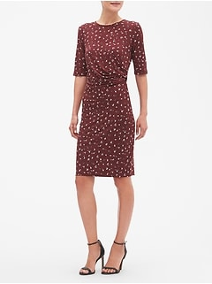 Petite Floral Print Ruched Sheath Dress