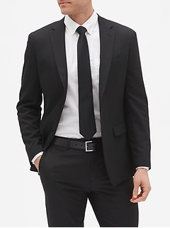 Slim-Fit Stretch Black Blazer