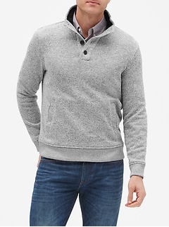 Marled Fleece Mock Neck Pullover Sweater