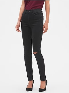 High Rise Destructed Black Denim Skinny Jean