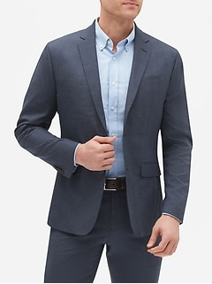 Slim-Fit Stretch Navy Plaid Blazer