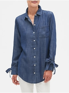 Boyfriend Chambray Split Sleeve Shirt