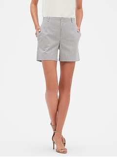 Tailored Stripe Yarn Dyed Pique Shorts - 5 inch inseam