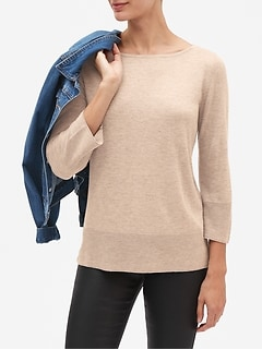 Ribbed Sleeve Shimmery Boatneck Pullover Sweater