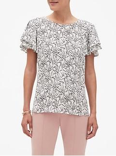 Print Double Flounce Sleeve Top