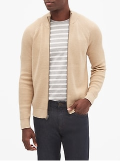 Ribbed Mock Neck Cardigan