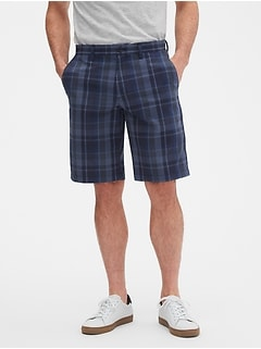 "11"" Emerson Straight-Fit Blue Plaid Shorts"