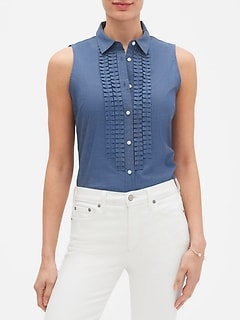 Chambray Tailored Bib Top