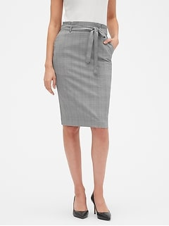 Petite Machine Washable Tie Waist Plaid Pencil Skirt