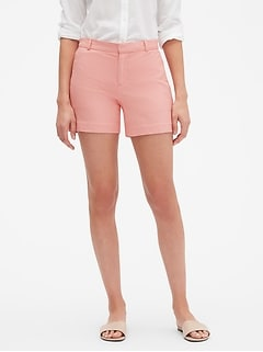 Tailored Pink Textured Pique Shorts - 5 inch inseam