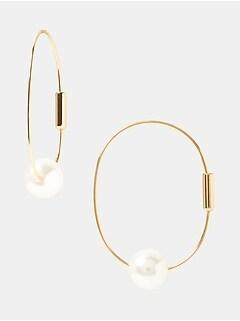 Delicate Pearl Hoop Earring