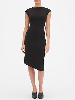 Petite Asymmetrical Hem Midi Sheath Dress