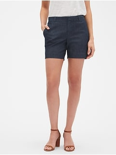 Tailored Chambray Shorts - 5 inch inseam