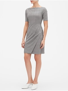 Petite Asymmetrical Wrap Sheath Dress