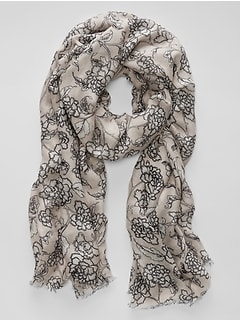 Ivory Floral Scarf