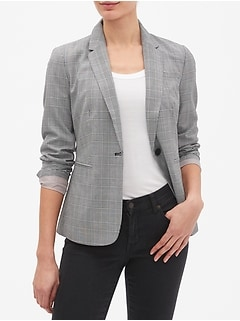 Petite Machine Washable Plaid One-Button Blazer