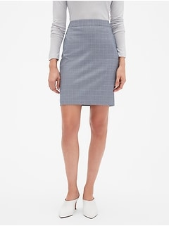 Chambray Windowpane Classic Pencil Skirt