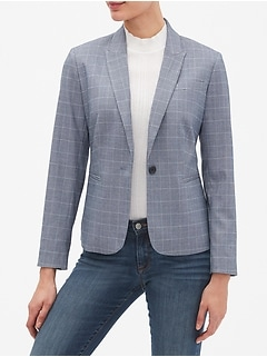 Petite Machine Washable Chambray Windowpane One-Button Blazer