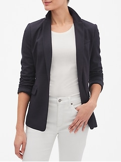 Petite Machine Washable Ponte Pin Dot One-Button Blazer