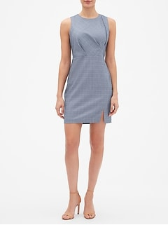 Petite Asymmetrical Windowpane Sheath Dress
