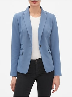 Petite Machine Washable Pop Color Bi-Stretch One-Button Cutaway Blazer
