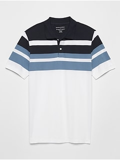 Blocked Stripe Pique Polo