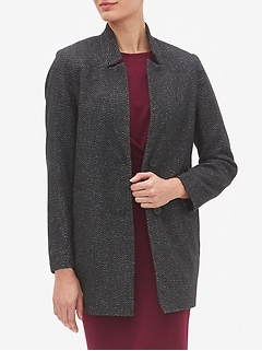 Petite Inverted Collar Long Wool Coat