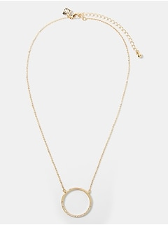 Pave Hoop Delicate Necklace