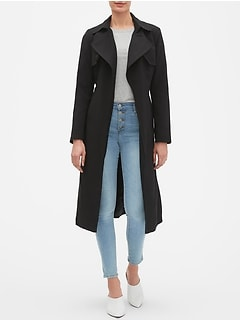 Petite Wrap Tie Soft Long Trench Coat