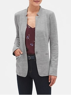Petite Textured Knit Inverted Collar Blazer