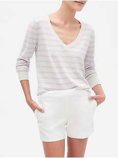 Stripe Premium Luxe V-Neck Sweater