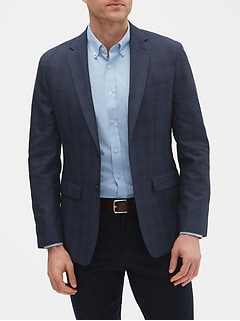 Slim-Fit Blue Plaid Blazer