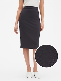 Petite Machine Washable Pin Dot Ponte Pencil Skirt