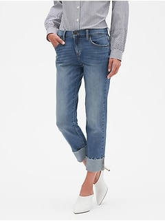 Raw Hem Medium Wash Cuffed Girlfriend Jean