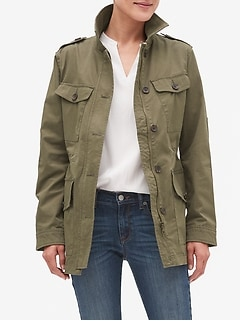 Petite Military Four Pocket Jacket