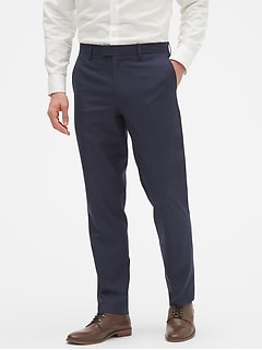 Commute Proof Standard-Fit Navy Print Pant