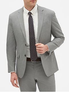 Slim-Fit Grey Textured Blazer