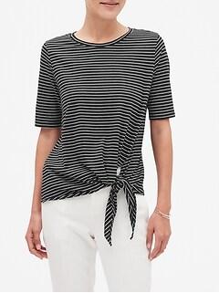 Stripe Tie Front Designer T Shirt
