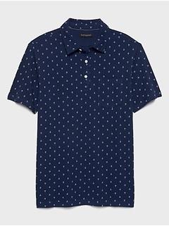 Pocket Nautical Print Pique Polo