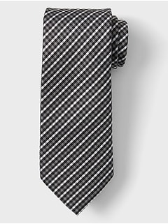 Stain-Resistant Grey Plaid Modern Slim Tie