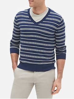 All Season Stripe V-Neck Pull Over Sweater