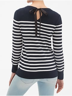 Back Bow Crew Neck Sweater