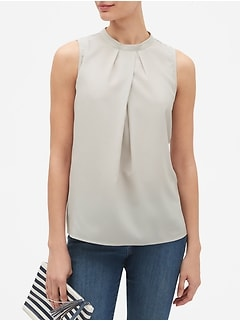 Mock-Neck Pleated Top