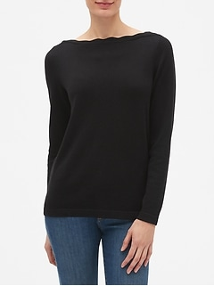 Machine Washable Forever Scallop Boatneck Sweater