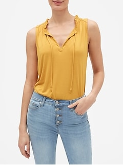 Rayon Ruffle Neck Tie Top