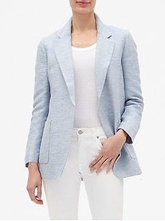 Petite Linen Patch Pocket Open Blazer