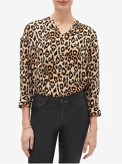 Leopard Print Split Neck Pullover Top