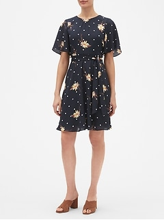 Print Flutter Sleeve Belted Fit and Flare Dress